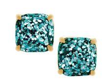 New Kate Spade Blue Glitter Square Stud Earrings In Gift Box