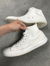 Mens White LEATHER Converse High Tops - Used - Size UK 9 EUR 42.5 - Sneakers