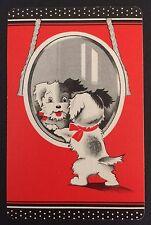 Vintage Swap/Playing Card - CUTE DECO DOG LOOKING IN MIRROR