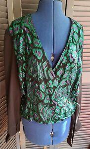 Vintage 1980s Wrap/Blouse/Shirt, Emerald Green, Metallic, Size L