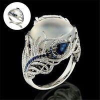 Argent bijoux Huge Moonstone Wedding Man bague de fiançailles Opal Stone cadeaux