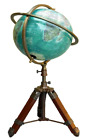 Antique Brass World Map Nautical Table GLOBE ORNAMENT With Wooden Tripod Stand