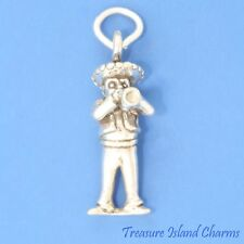 MEXICAN MARIACHI MUSICIAN WITH TRUMPET 3D 925 Solid Sterling Silver Charm MEXICO
