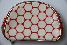 "Nordstrom Orange White Polka Dot Makeup Cosmetics Zipper Bag 8"" x 5.5"" x 3"" New"