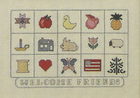 Welcome Friends Cross Stitch Pattern Leaflet samplers Easy stitch 2 designs