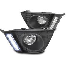 2015-2017 HONDA FIT JAZZ DRL LED BUMPER CHROME FOG LIGHT LAMP+WIRING HARNESS SET