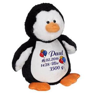 Plüschtier, Kuscheltier, Baby-Geschenk individuell bestickt, Pinguin