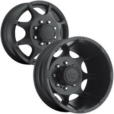 "Set of 4-Vision 715 Crazy Eightz Dually 16x6 8x165.1/8x6.5"" Black Wheels Rims"