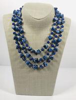 Vintage Necklace Three Strand Blue Ceramic Bead Hook Clasp Pretty Kitsch Costume
