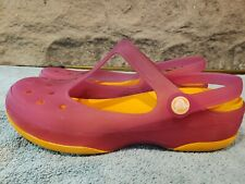 Crocs CLOG PURPLE ORANGE Slip-on Shoes WOMENS SZ 8 EXCELLENT!