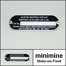 Classic Mini Chassis Plate Austin Morris British Leyland CP339 bmc cooper blank