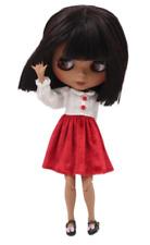 Short Dark Black Hair Blythe doll Tanned joint body 1/6 BJD 4 Changing Eyes
