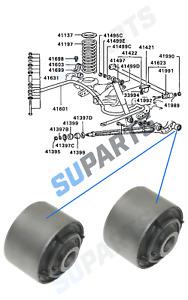2x REAR CONTROL ARM LOWER LH/RH TRAILING BUSH for Mitsubishi Pajero Shogun mk2