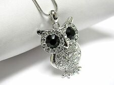 High Quality Crystal White Gold Plating Wise Owl Pendant Necklace Gift Box JM