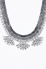URBAN OUTFITTERS STATEMENT SILVER  DIAMOND NECKLACE