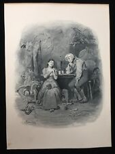 "4 Antique Mezzotint Prints, Signed by Same Artist, 9"" x 12"" (Paper)"