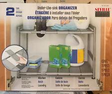 Seville Classics 2 Tier Adjustable Under The Sink Metal Organizer Kitchen Bath
