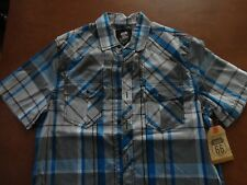 Route 66 Short Sleeve Men M Western Casual Shirt Plaid Cotton/Polyester NWT