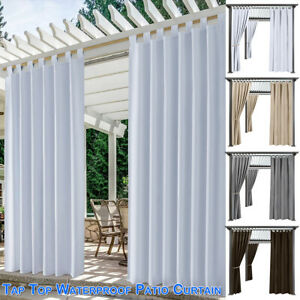 Blackout Waterproof Patio Curtains Thermal Insulated Outdoor Drapes Lawn Garden