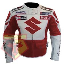 SUZUKI 4269 RED MOTORBIKE MOTORCYCLE BIKER COWHIDE LEATHER ARMOURED JACKET