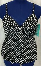 Penbrooke 12 Tankini Swimsuit Black Polka Dot V Twist Front Halter Swim Top New