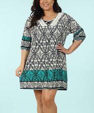 Shift Tunic Dress Size 12 Ladies Womens Green & Black Geometric B-953