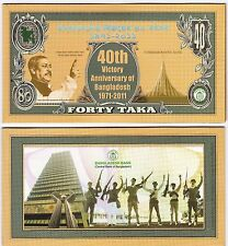 Bangladesh 40 Taka -Commerative Banknotes- 2011 -Pick-60- UNC - With Folder