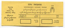 BURMA AIRWAYS CORPORATION BOARDING PASS CARD SEAT MAP