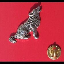 English Pewter WOLF  Pin Badge Tie Pin / Lapel Badge (XTSBPC18)