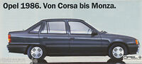 Opel 1986 Prospekt 1/86 Corsa bis Monza car brochure 1986 Auto PKWs Deutschland