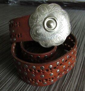 Vintage Wide Boho Moroccan Studded Leather Belt Etched Silver Buckle M L EUC