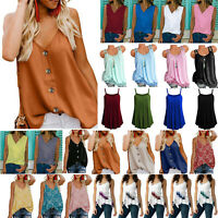 Women Loose Cami Casual Sleeveless Tank Top Strapppy Flared Blouse Vest Tee 6-22