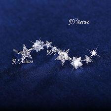925 SILVER CLEAR CRYSTAL Unbalanced irregularity star stud ear climbers earrings