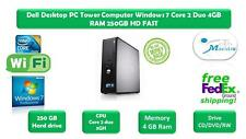 Dell Desktop PC Tower Computer Windows 7 Core 2 Duo 4GB RAM 250GB HD FAST