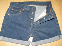 "+ VINTAGE + LEVI 501 BLUE DENIM SHORTS SIZE 8/10 W28"" HIGH WAIST/CUT OFF"