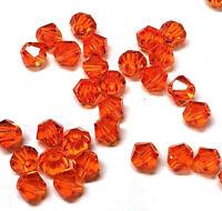 40 Tschechische Kristall Rot Magma 4mm Doppelkegel Glas Perlen Glasschliff X37