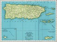 1942 Antique PUERTO RICO Map Vintage Map of Puerto Rico Gallery Wall Art 8172