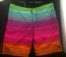 Hurley Boys16/28 Bright Stripe Board Shorts Swim Surf Trunks Waist 28""