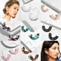 Women Big Acrylic Geometric Semicircles Shape Design Earrings Statement Jewelry