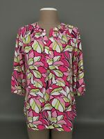 CROWN & IVY Women's SMALL-Multicolor Floral Print 3/4 Sleeves Boho Blouse-Top