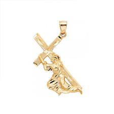 Pendant Christ Crucifix Dia Cut Charm 14K Solid Yellow Gold Jesus Carrying Cross