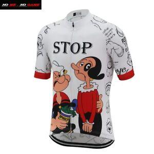 Cartoon Men Funny Cycling Jersey Road Bike Clothing White Short Sleeve