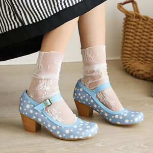 Women's Mary Janes Pumps Cute Sweet Lolita Dot Round Toe Square Heel Shoes Sz