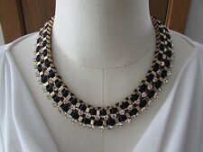 Brooks Brothers Gold Plated Necklace & Bracelet - Crystal and Blue Silk Ribbon