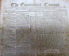 Original 1804 HARTFORD CONNECTICUT COURANT newspaper Oldest still published inUS