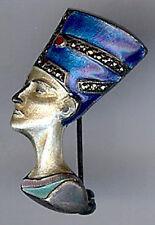 Egyptian Queen Nefertiti Pin Brooch* Art Deco Vintage Sterling Silver Enamel