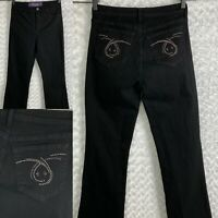 NYDJ Not Your Daughters Jeans Women's Black Embellished Size 6 Bootcut  28x31