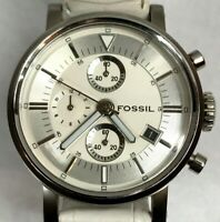 Fossil Womens Watch 250801 White Leather / Stainless Steel Needs Battery