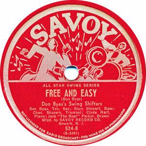 78 RPM - Don Byas - Free an Easy / Bass-C-Jam - 1944