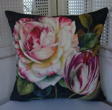 Lush Pink & White Rose & Tulip Linen Look Cushion Cover 45cm